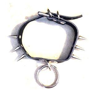 Vegan leather black steel spiked bondage collar